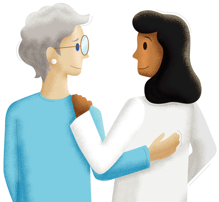 Illustration of a doctor and elderly woman with their arms over each other's shoulders