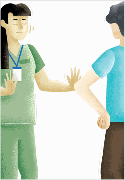 A hospital staff member is shaking her head 'no' to a woman with her hands on her hips